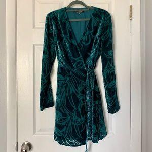 Lulu's teal blue velvet wrap dress